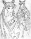 Another gorgeous manga-version pic by Ashiko-chan. This one has both Neo Moon and Neo-Princess Serenity holding the Silver Crystal. [Ashiko]