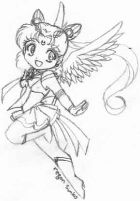 A super cute sketch of Neo Moon with wings by an ever proficient artist [Megan Simko]