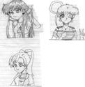 Cute Megami, Himeko, and Karei [Crimson Acolyte]