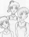 Kasumi, Yoake, and Aiko in dresses...they have really beautiful faces and perfect expressions [Kazuki_101]