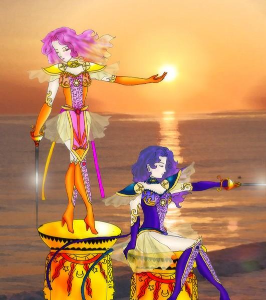 Beautiful drawing of Hinoiri and Hinode, the Solar Guardians. [Kaworu]