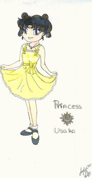 Princess Usako in a cute ruffly yellow dress by [Ashiko-chan]